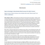 press release-Space technology to help develop flood insurance for Indias farmers